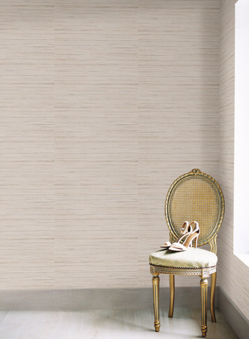 Ragtime Silk Wallpaper in Beige and Brown from the Deco Collection by Antonina Vella for York Wallcoverings