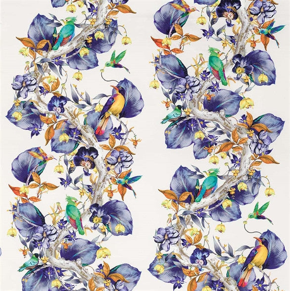 Rain Forest Fabric in Amethyst from the Enchanted Gardens Collection by Osborne & Little