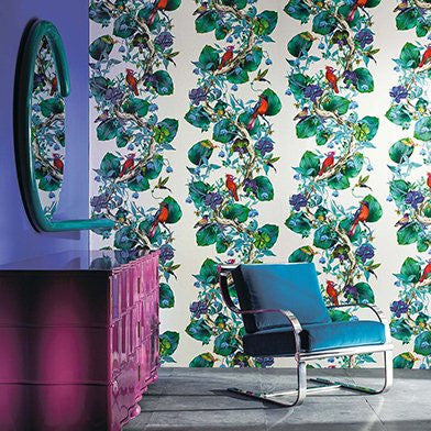 Rain Forest Wallpaper in Emerald from the Enchanted Gardens Collection by Osborne & Little
