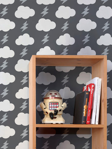 Rainbolts Wallpaper in Stormy design by Aimee Wilder