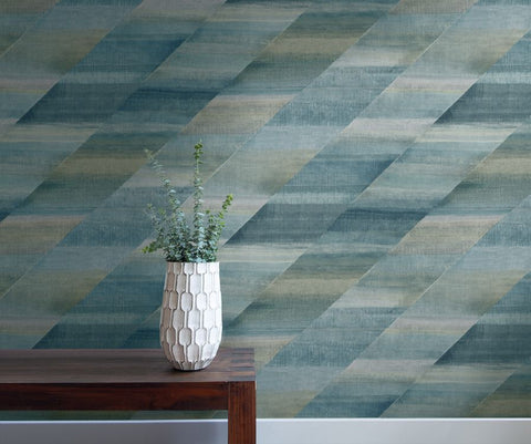 Rainbow Diagonals Wallpaper in Steel Blue and Stone from the Boho Rhapsody Collection by Seabrook Wallcoverings