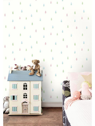 Raindrops Wallpaper from the Day Dreamers Collection by Seabrook Wallcoverings