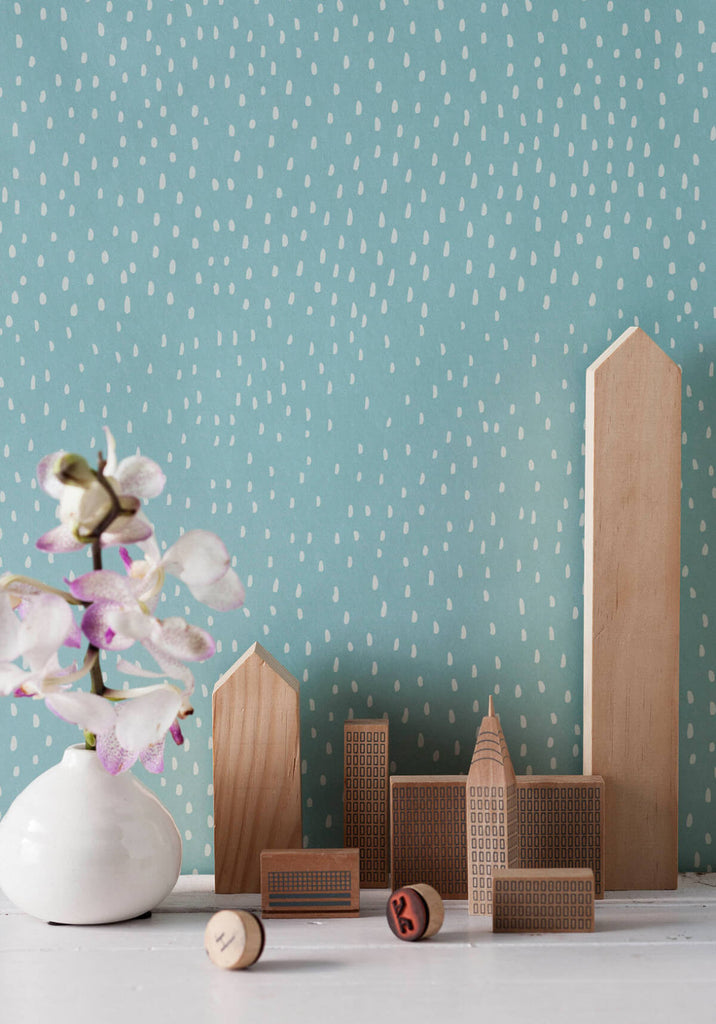 Rainfall Wallpaper in Duckegg from the Love Mae Collection by Milton & King