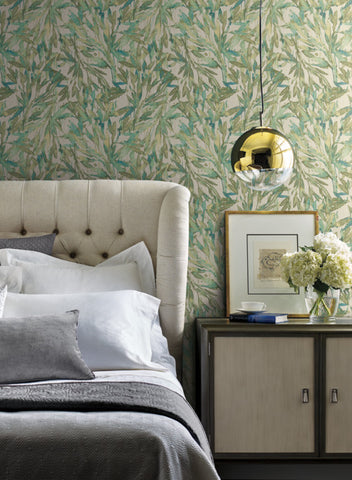 Rainforest Leaves Wallpaper in Teal and Greens from the Natural Opalescence Collection by Antonina Vella for York Wallcoverings