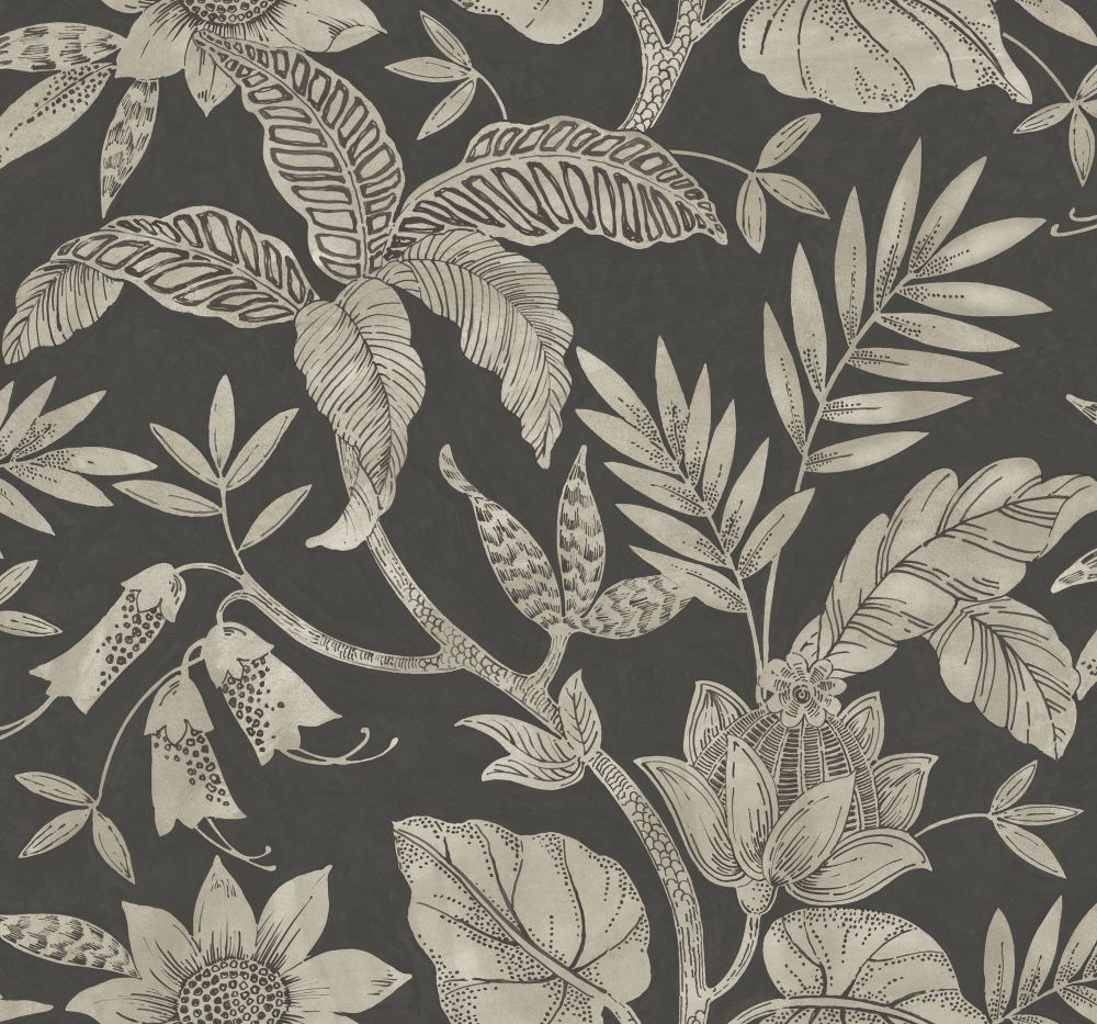Rainforest Leaves Wallpaper in Brushed Ebony and Stone from the Boho Rhapsody Collection by Seabrook Wallcoverings