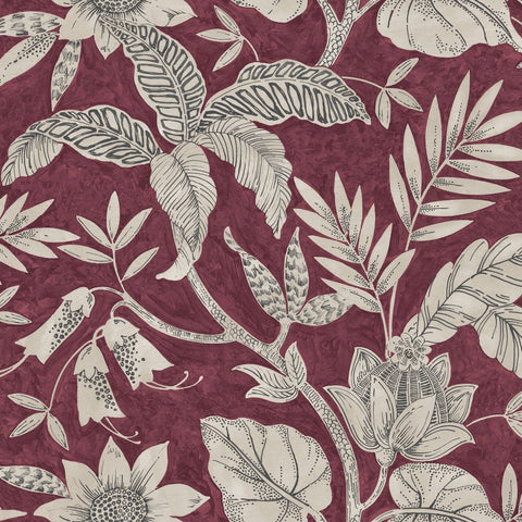 Rainforest Leaves Wallpaper in Cranberry and Stone from the Boho Rhapsody Collection by Seabrook Wallcoverings