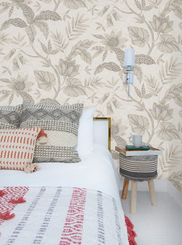 Rainforest Leaves Wallpaper in Ivory and Daydream Grey from the Boho Rhapsody Collection by Seabrook Wallcoverings