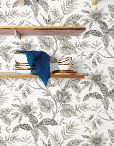 Rainforest Leaves Wallpaper in Ivory and Stone from the Boho Rhapsody Collection by Seabrook Wallcoverings