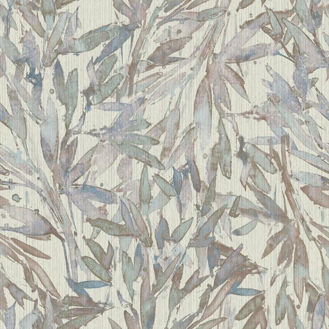 Rainforest Leaves Wallpaper in Lavender and Light Blue from the Natural Opalescence Collection by Antonina Vella for York Wallcoverings