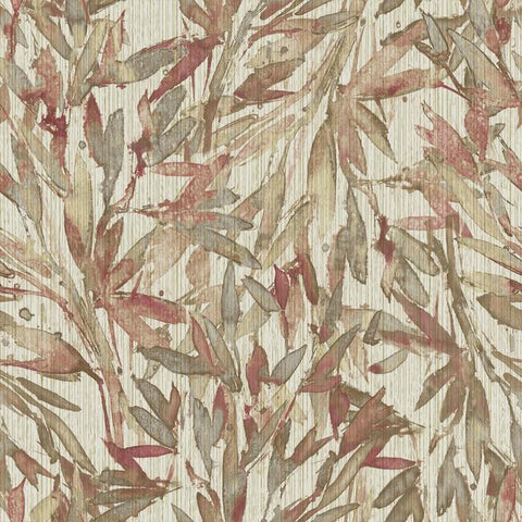 Rainforest Leaves Wallpaper in Red and Warm Grey from the Natural Opalescence Collection by Antonina Vella for York Wallcoverings