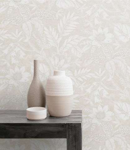 Rainforest Leaves Wallpaper in Sand Dune and Brushed Taupe from the Boho Rhapsody Collection by Seabrook Wallcoverings