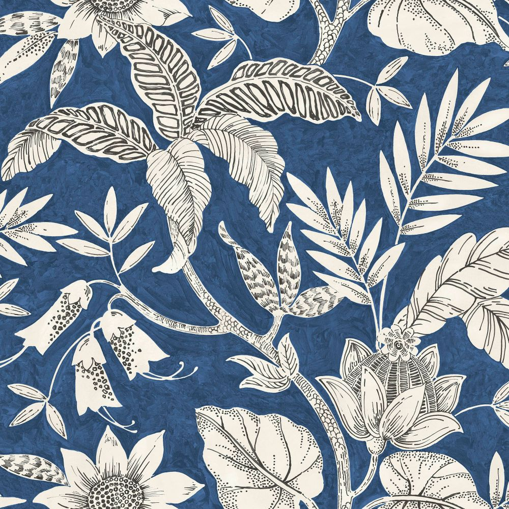 Rainforest Leaves Wallpaper in Sapphire and Brushed Ebony from the Boho Rhapsody Collection by Seabrook Wallcoverings
