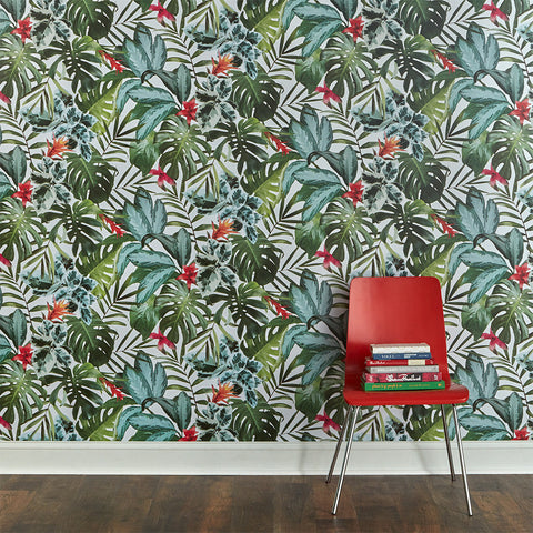 Rainforest Self-Adhesive Wallpaper in Green design by Tempaper