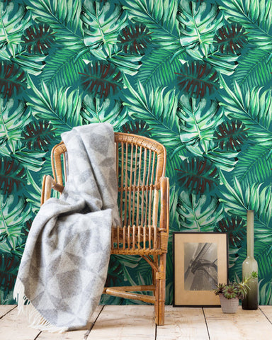 Rainforest Wallpaper in Green from the Tropical Vibes Collection by Mind the Gap