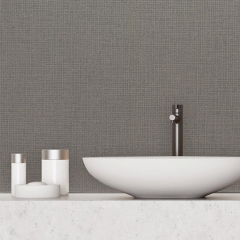 Randing Weave Wallpaper in Graphite from the Moderne Collection by Stacy Garcia for York Wallcoverings
