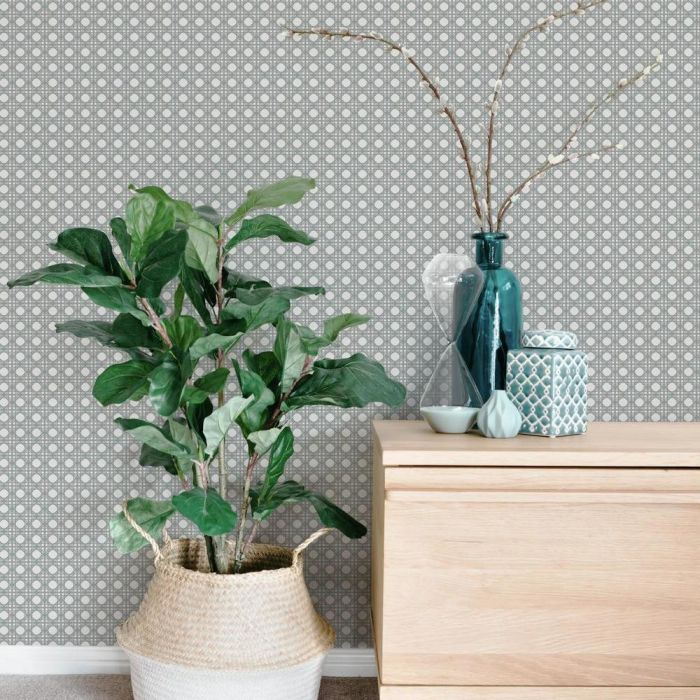Rattan Overlay Lattice Wallpaper in Aqua and Grey from the Conservatory Collection by York Wallcoverings