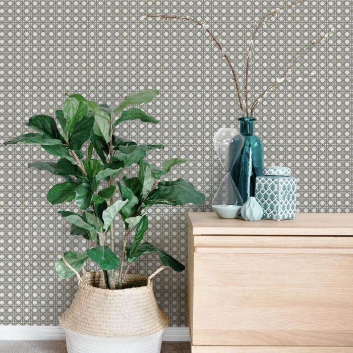Rattan Overlay Lattice Wallpaper from the Conservatory Collection by York Wallcoverings