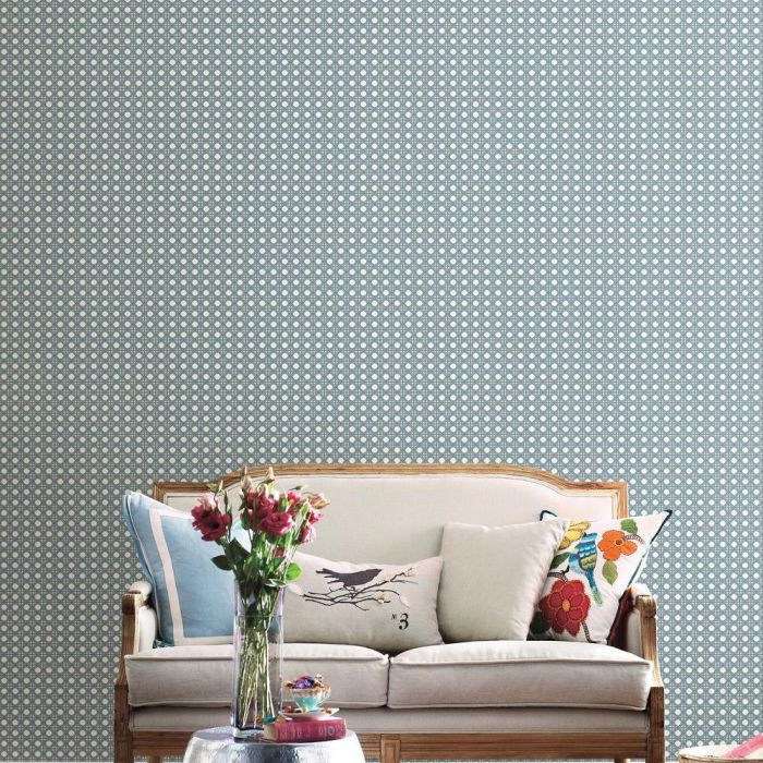 Rattan Overlay Lattice Wallpaper in Grey from the Conservatory Collection by York Wallcoverings