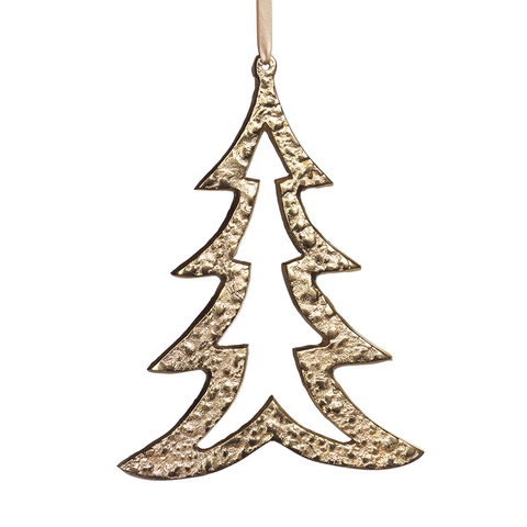 Raw Aluminum Gold Christmas Tree Ornament