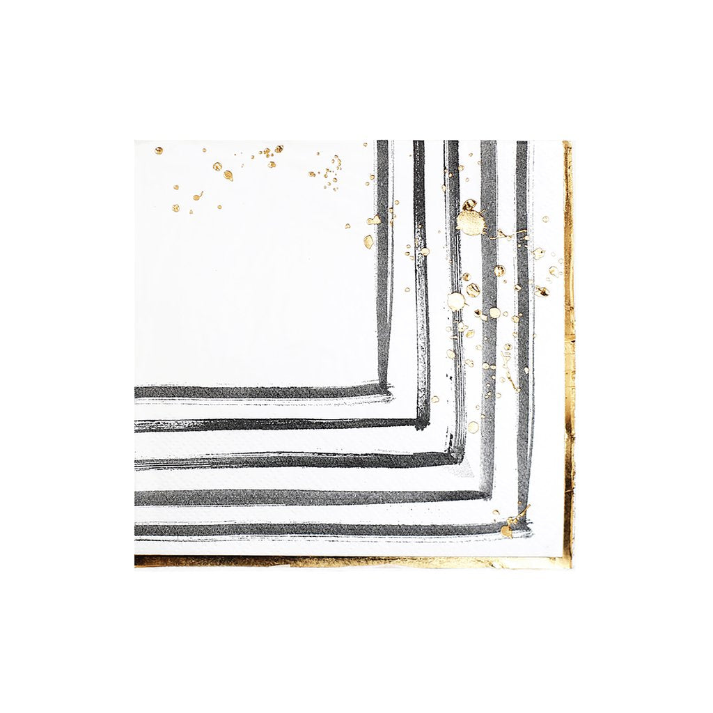 Rebelle - Black and White Brush Strokes Cocktail Paper Napkins design by Harlow & Grey