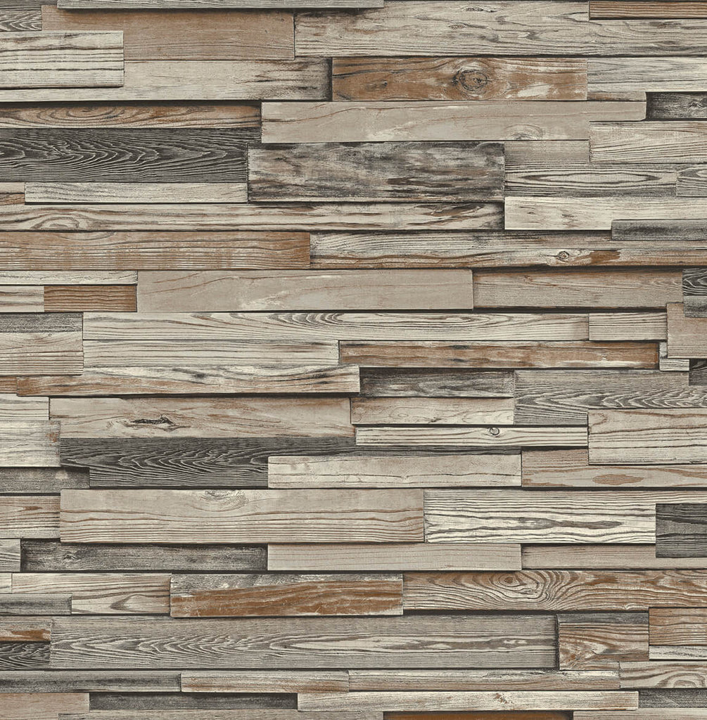 Sample Reclaimed Wood Plank Peel-and-Stick Wallpaper in Charcoal and Brown by NextWall