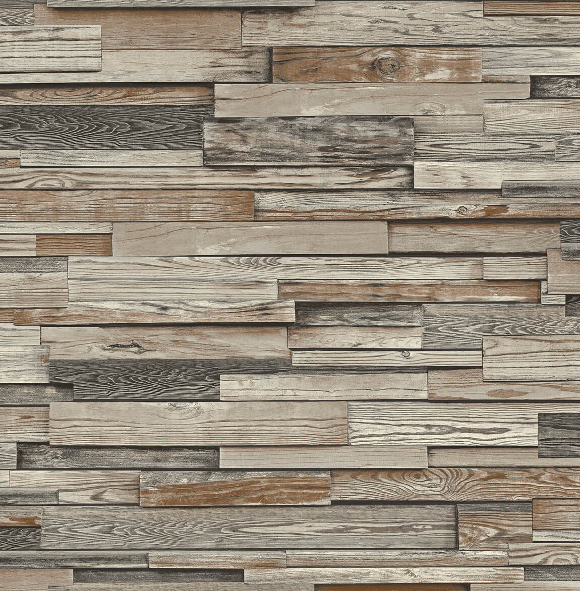 Reclaimed Wood Plank Peel And Stick Wallpaper In Charcoal And Brown By Burke Decor