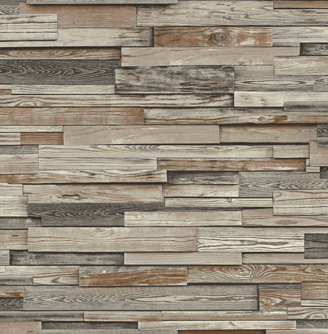 Reclaimed Wood Plank Peel-and-Stick Wallpaper in Charcoal and Brown by NextWall