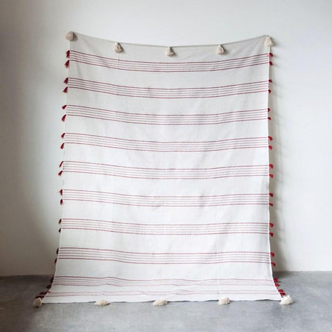 Red Striped Bed Cover with White Tassels