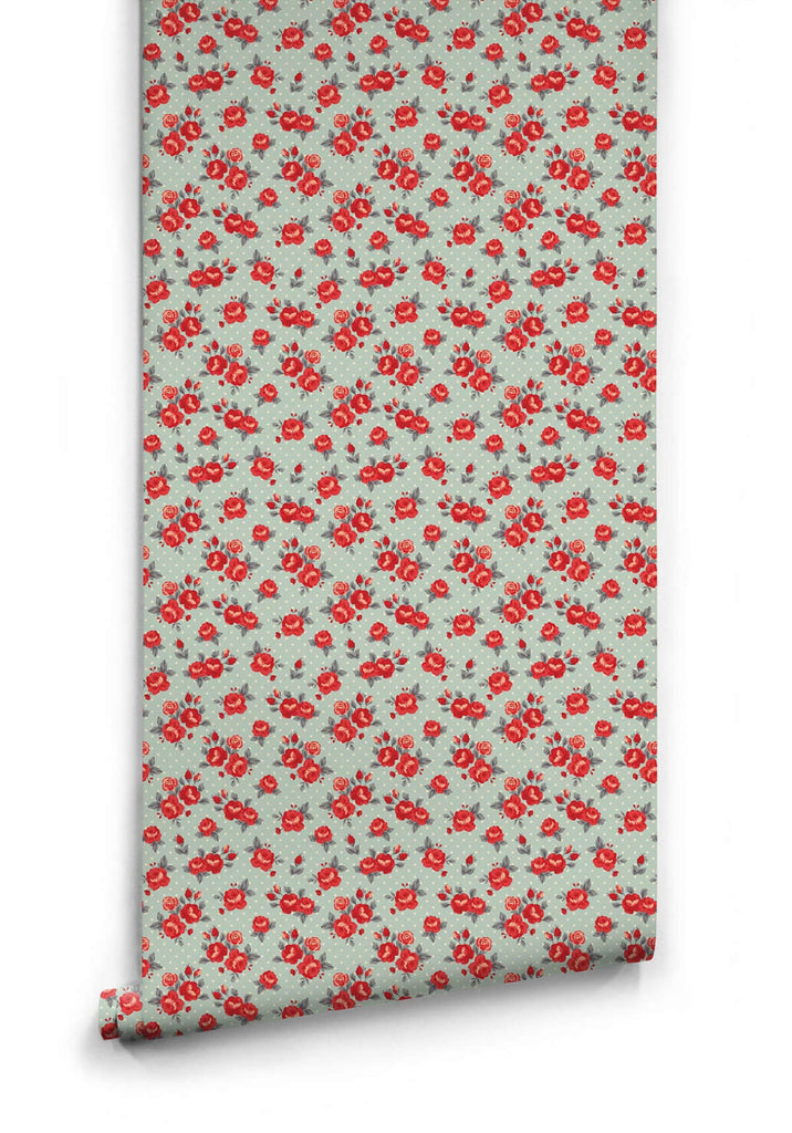 Sample Red Roses Wallpaper from the Love Mae Collection by Milton & King
