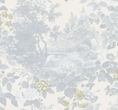 Reflective Pool Wallpaper in Frost from the Sanctuary Collection by Mayflower Wallpaper