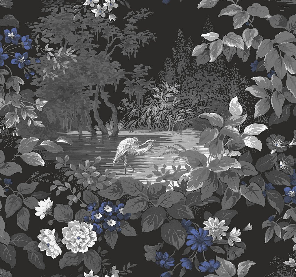 Reflective Pool Wallpaper in Midnight from the Sanctuary Collection by Mayflower Wallpaper