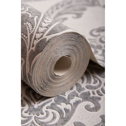 Regent Wallpaper in Grey from the Palais Collection by Graham & Brown