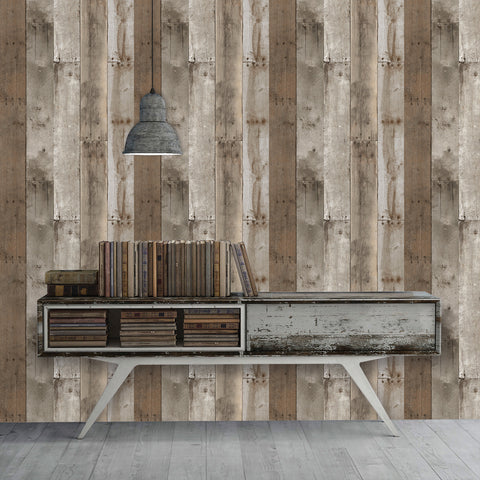 Repurposed Wood Weathered Textured Self Adhesive Wallpaper by Tempaper
