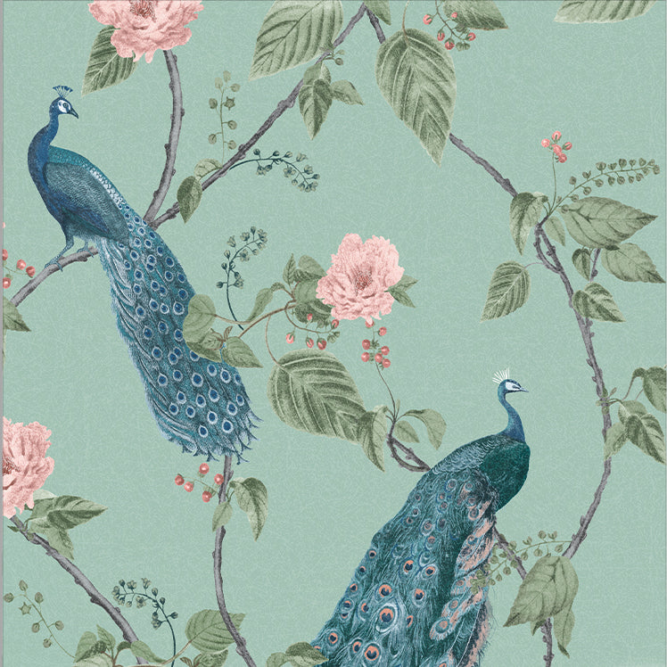 Sample Resplendence Wallpaper in Aqua from the Exclusives Collection by Graham & Brown