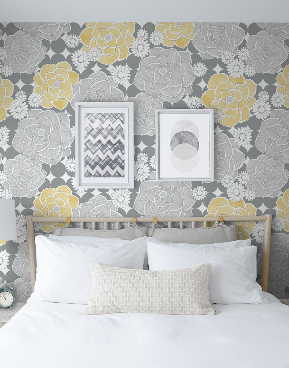 Retro Floral Peel And Stick Wallpaper In Yellow And Grey By Nextwall Burke Decor