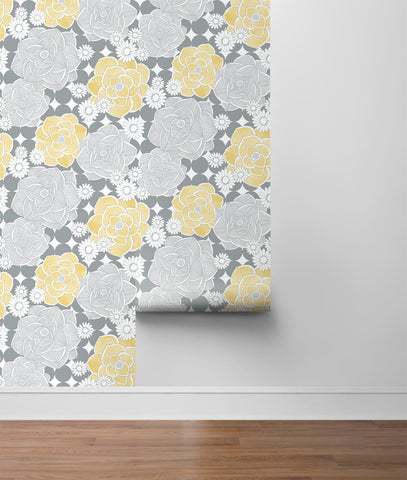 Retro Floral Peel-and-Stick Wallpaper in Yellow and Grey by NextWall