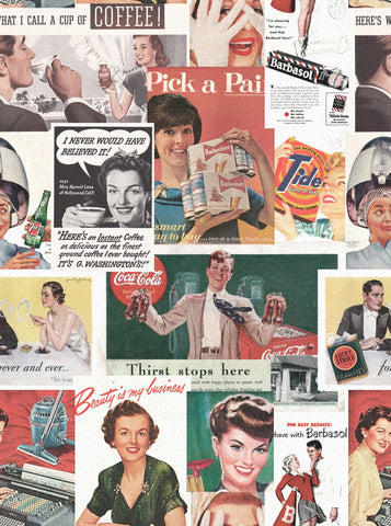 Retro Ads Wallpaper in Multi from the Eclectic Collection by Mind the Gap