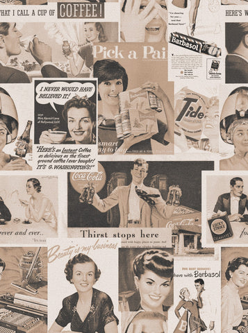 Retro Ads Wallpaper in Sepia from the Eclectic Collection by Mind the Gap