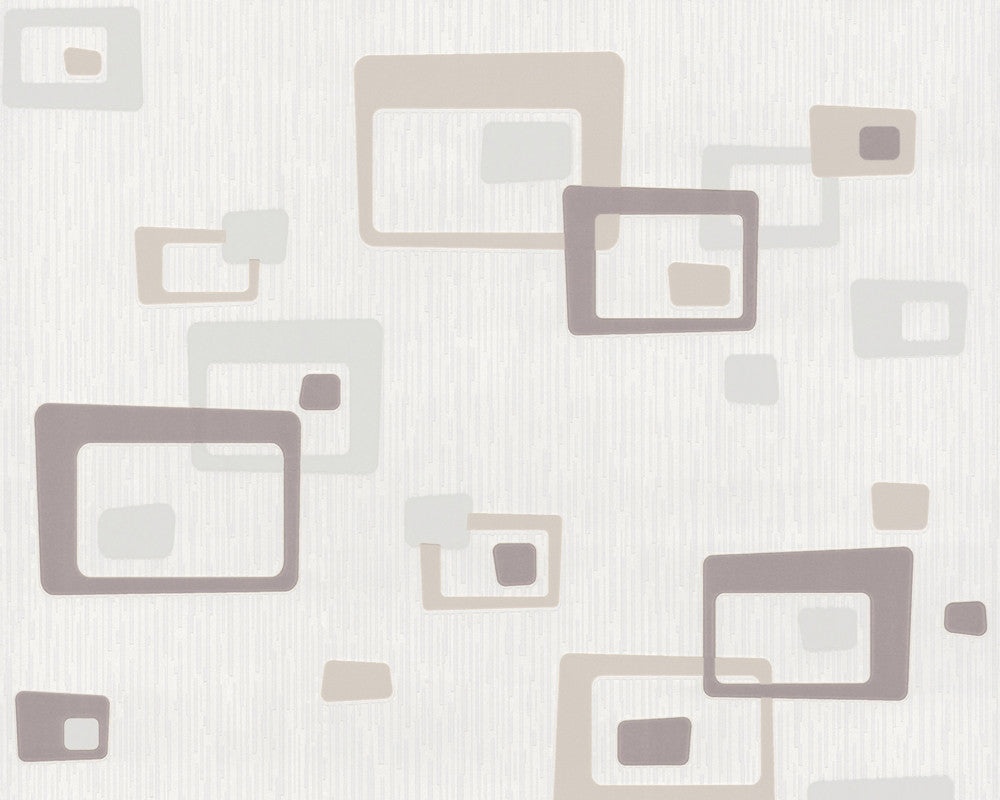 Retro Blocks Wallpaper in Beige and White design by BD Wall