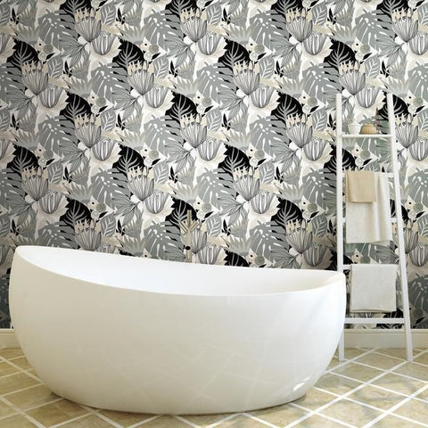 Retro Tropical Leaves Peel & Stick Wallpaper in Neutral by RoomMates for York Wallcoverings