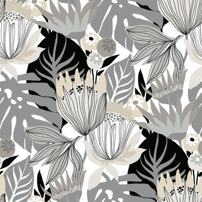 Retro Tropical Leaves Peel Stick Wallpaper in Neutral by RoomMates for York Wallcoverings c88790e3 cf86 41de 9dfc
