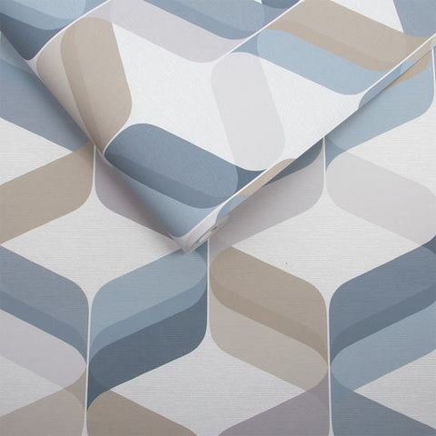 Retro Wallpaper in Denim from the Exclusives Collection by Graham & Brown