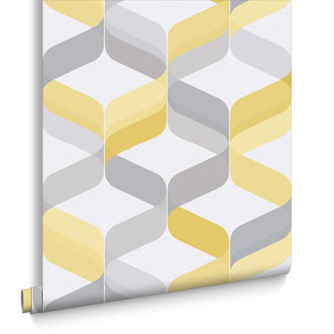 Retro Wallpaper in Lemon from the Exclusives Collection by Graham & Brown