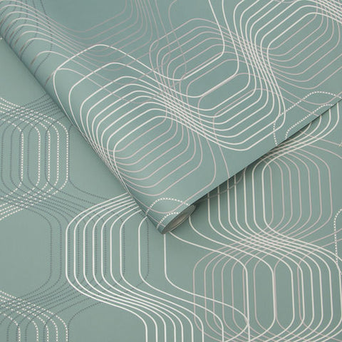 Revival Wallpaper in Aqua from the Exclusives Collection by Graham & Brown