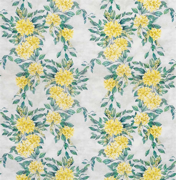 Rhodora Fabric in Lemon and Teal from the Enchanted Gardens Collection by Osborne & Little