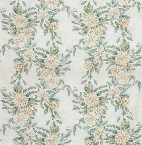 Rhodora Fabric in Stone and Mint from the Enchanted Gardens Collection by Osborne & Little