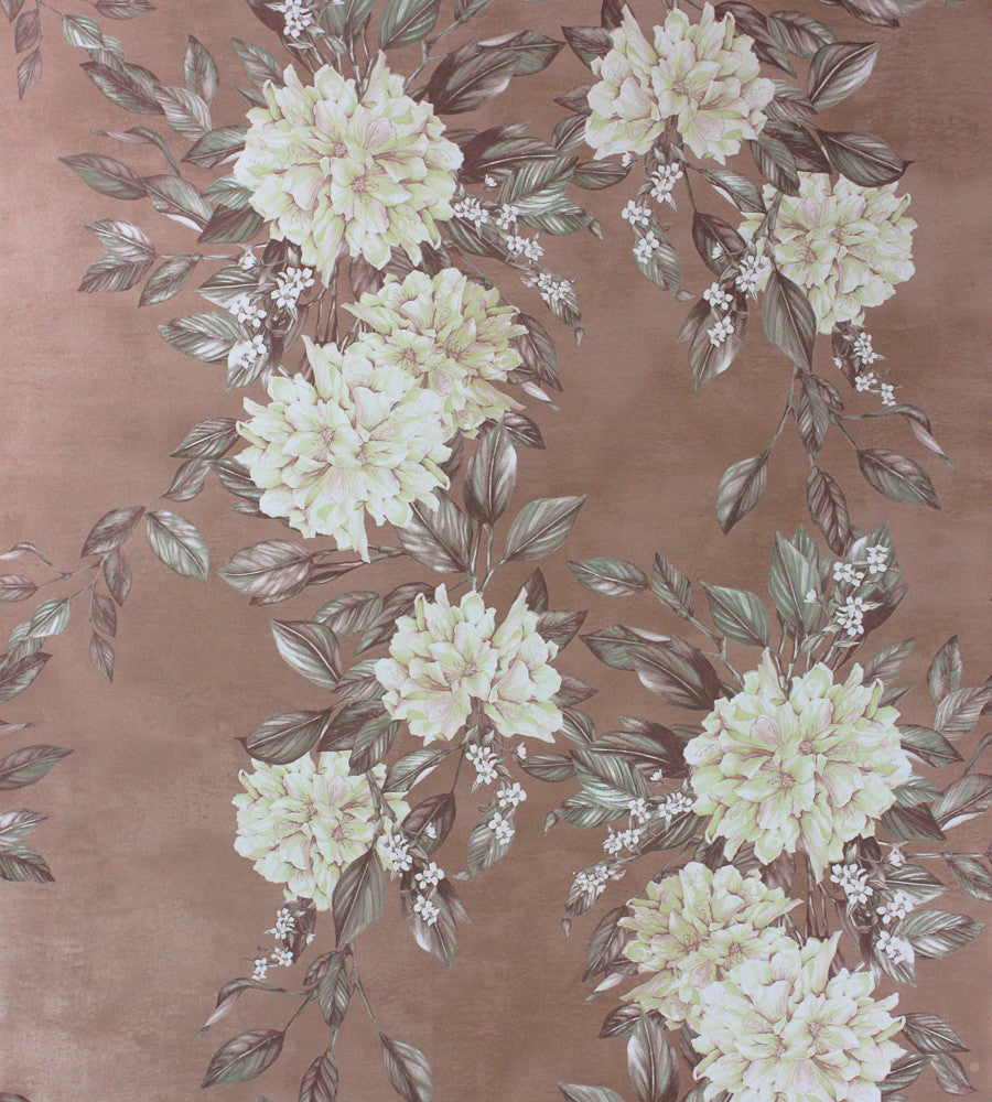 Sample Rhodora Wallpaper in Cream/Sage from the Enchanted Gardens Collection by Osborne & Little