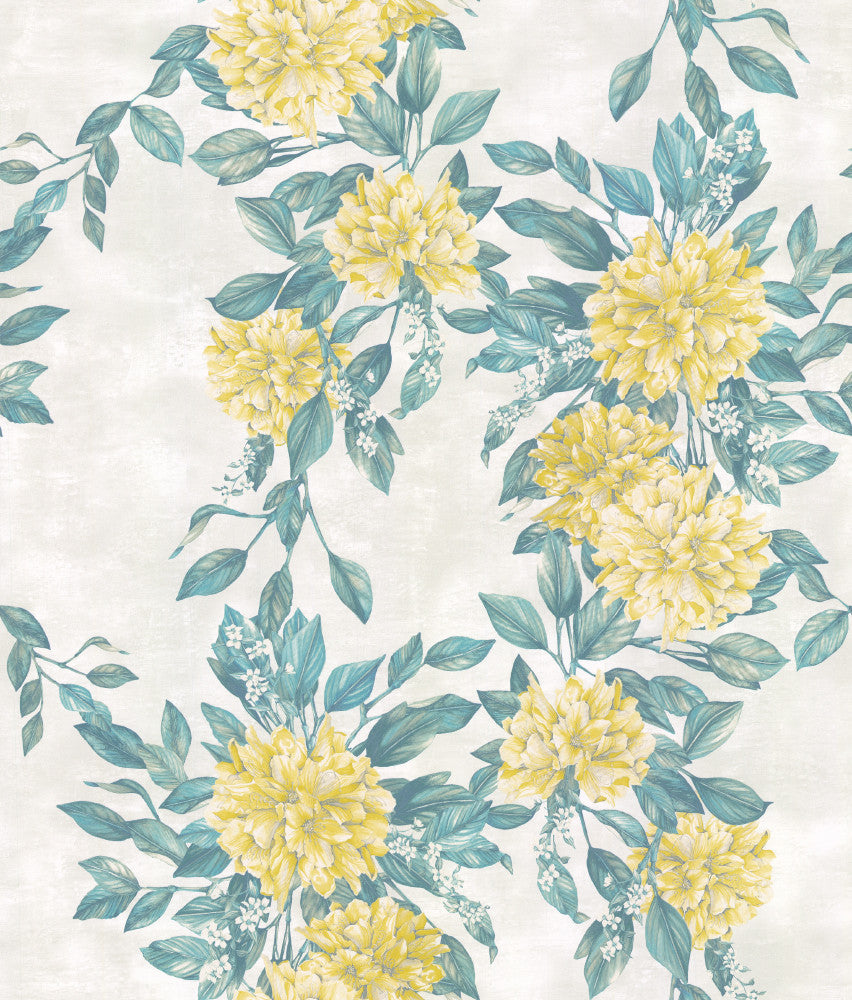 Rhodora Wallpaper in Lemon/Green from the Enchanted Gardens Collection by Osborne & Little