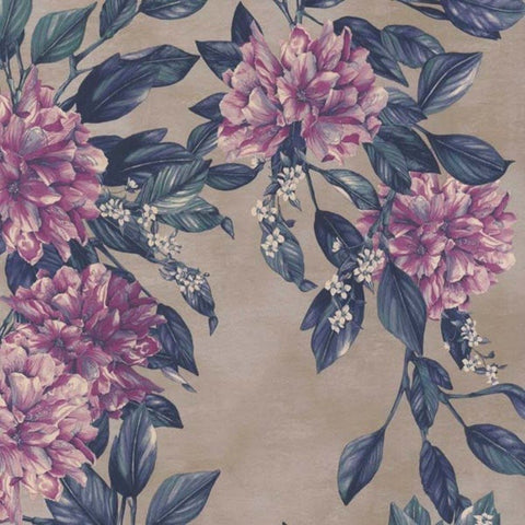 Rhodora Wallpaper in Magenta/Petrol from the Enchanted Gardens Collection by Osborne & Little