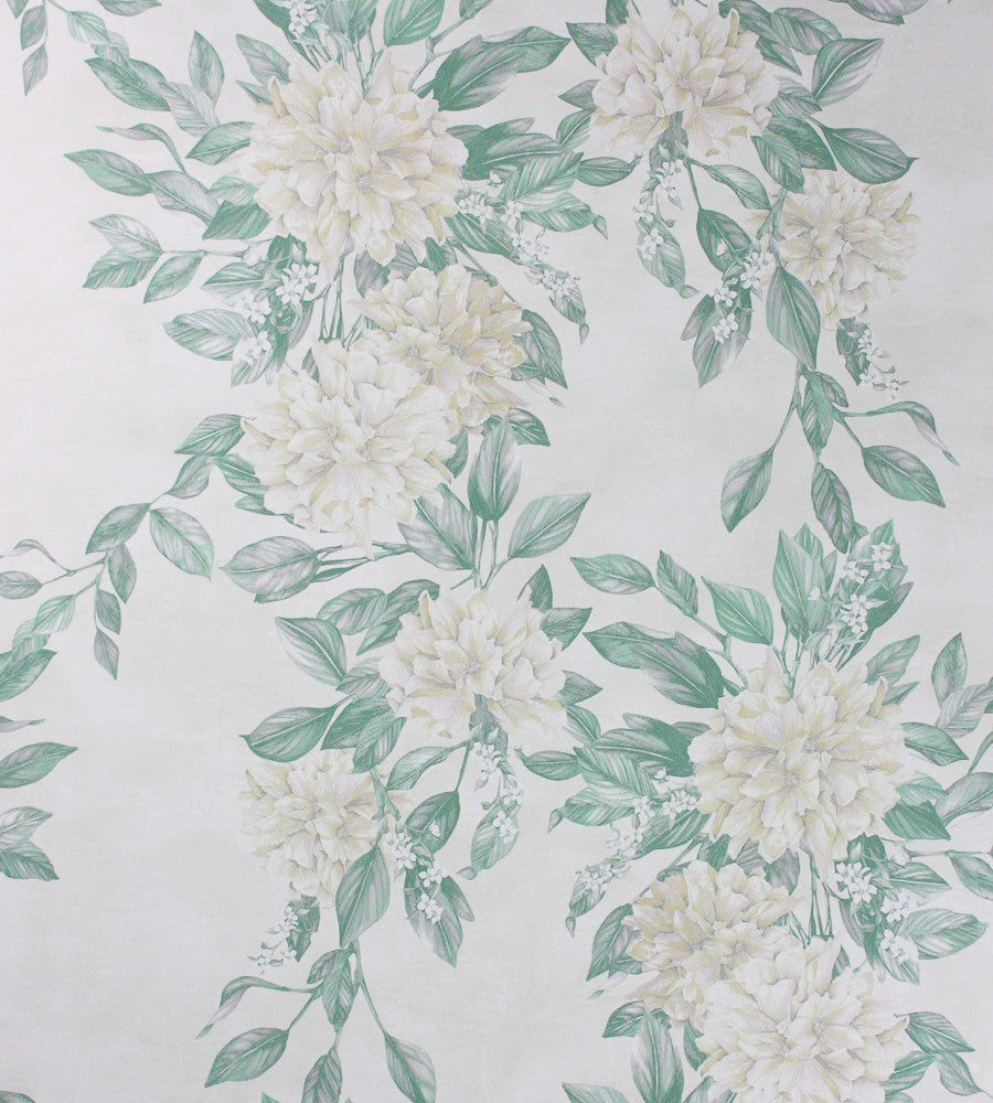 Sample Rhodora Wallpaper in White/Sage from the Enchanted Gardens Collection by Osborne & Little